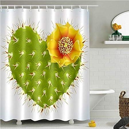 Chenghaos shop Girasol Cactus Mariposa Y Flor Cortinas De Ducha Mamparas De Baño Tejido De Poliéster Impermeable para Niña Bañera Decoración para El Hogar 150 (W) X180 (H) Cm: Amazon.es: Hogar