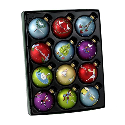 Kurt Adler Twelve Days of Christmas Ball Ornament, 65mm, Set of - Days Christmas Ornaments Of 12
