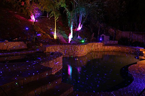 Purple Laser Light Projector by BlissLights Commercial Grade Indoor or Outdoor Laser Star Spotlight Includes Wireless Remote, 16 LED Accent Colors, Timer, Stake, and Thousands of FireFly Pinpoints by BlissLights (Image #7)