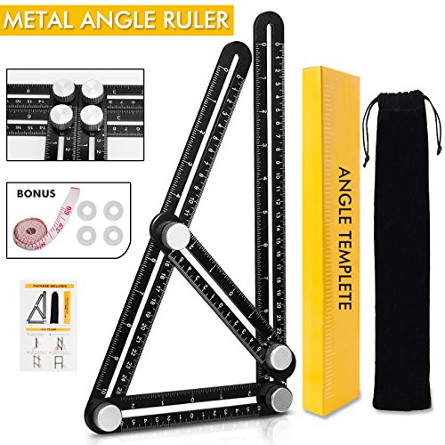 Angle Ruler Angleizer Template Measurement Tool Multi angle Finder with Aluminum Screws, for Carpenters Engineers Builders Construction Flooring Professionals DIY Wood Tile, Black (Aluminum) - Linear Black Wood