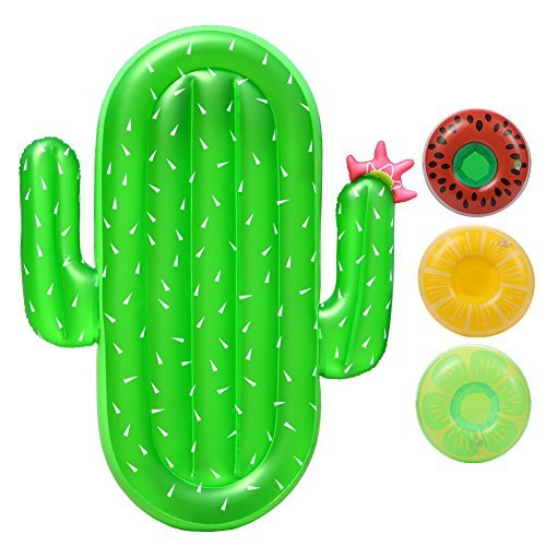 Lumiparty Inflatable Cactus Pool Float Raft Outdoor Swimming Pool Inflatable Float Giant Pool Float Cute Shaped Floating Row Summer Party Beach Holiday for Adult & Kids(with 3Pcs Drink Holders).