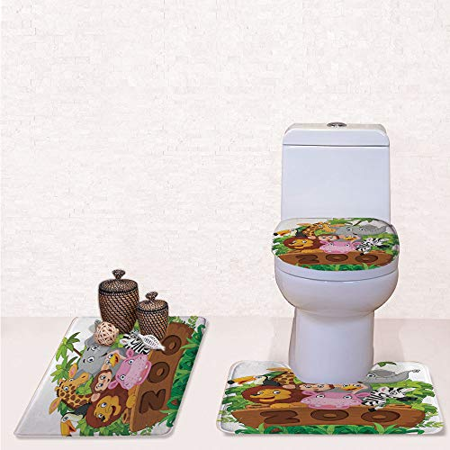 Comfort Flannel 3 Pcs Bath Rug Set,Contour Mat Toilet Seat Cover,Cartoon Collection of Several Happy Animals of Zoo Fresh Plants Grass Trees Cheerful with Multicolor,Decorate Bathroom,Entrance Door,k