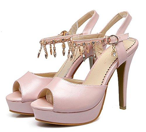 Aisun Womens Rhinestone Dressy Stiletto High Heel Buckled Platform Peep Toe Sandals With Ankle Strap Blush poPJAfhN