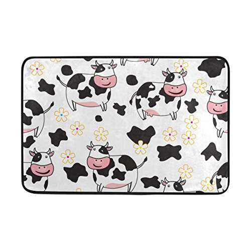 Chen Miranda Cute Cow Pattern Door Mat Carpets Indoor Outdoor Area Rugs Office Door Mat Non-slip for Bedroom Bathroom Living Room Kitchen Home Decorative 23.6x15.7 inch Lightweight by Chen Miranda