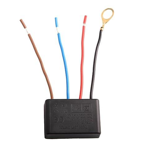 Askformore Uk Interrupteur Tactile à 4 Fils Pour Lampe à Ampoule Incandescente 15 W 80 W 230 V 240 V 50 Hz 3 Niveaux De Luminosité