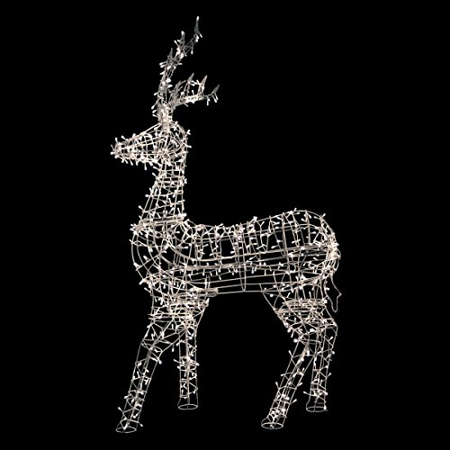 "picture of 60"" White LED Lighted Standing Reindeer Outdoor Christmas Decoration - Warm White Lights"