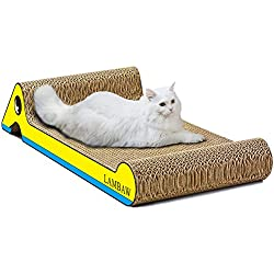 LAMBAW Cat Scratcher Lounge 23.8in BIg Eco-friendly Corrugated Cardboard Scratching Pads Lounger Bed Cats Kitten Playing Rest - Protect Furniture Keep Cat Claws Healthy - Yellow Duck