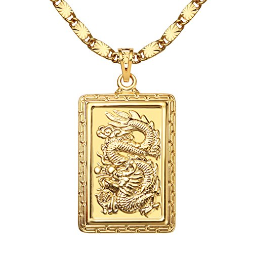 WESTMIAJW 24K Gold Plated Dragon Pendant Necklace Chains for Men Women 24