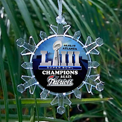- New England Patriots Super Bowl 53 Champs AGAIN Champions Snowflake blinking lights Holiday Christmas Tree Ornament