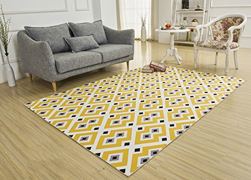 SANNIX Soft Fabric Shaggy Area Rug Fluffy Living Room Carpets for Home Decor Nursery Rugs with Non-Skid Rubber Backing babysbreath 140X200CM by SANNIX (Image #1)