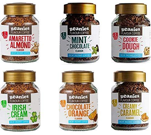 6x Beanies Flavored Instant DECAF Coffee Jars: Creamy Caramel, Cookie Dough, Mint Chocolate, Irish Cream, Chocolate Orange & Amaretto Almond