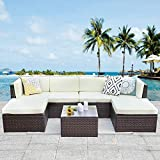 Solaste Outdoor Patio Furniture Set,8 Piece Rattan Wicker Sectional Sofa Seating - Outdoor Indoor Backyard Porch Garden Poolside Balcony (Brown)
