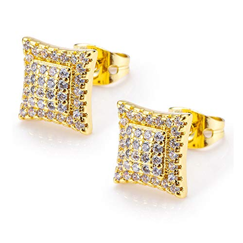 - Mens Hip Hop Iced Out Lab Diamond 9mm Solid Square Kite Shaped Hypoallergenic Stud Earrings for Men and Women (Gold)