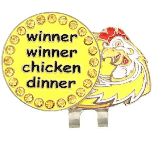 Giggle Golf Bling Winner Winner Golf Ball Marker With A Chicken Hat Clip