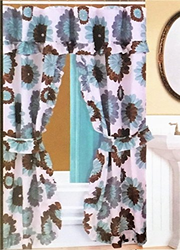 Better Home Double Swag Fabric Shower Curtain /12 Coordinated Rolling Ring Hooks, 2 Tie Backs (Sun Flower)