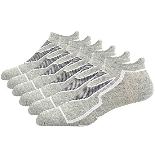 Busy Socks Men Grey Fitness No Show Socks with Arch Support, Cool-Silver Ultralight Training Socks 3 Pack (Silver No Show Socks)