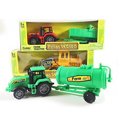 Boley Toy Tractor 3 pack - Expand your toy car and truck collection with these farm tractors! Great gift set! (3 semi-articulated tractors with working hitches, tilting bucket, etc.)