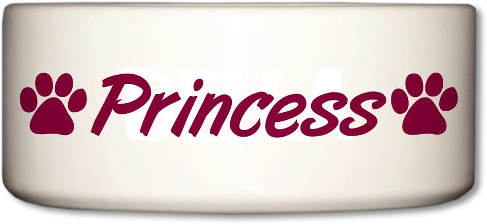 Pet Supplies Victorystore Pet And Dog Food Bowl Ceramic Dog Bowl Princess Paw Prints Design Pet Bowls Amazon Com