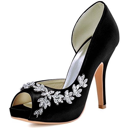 ElegantPark HP1560IAC Women's High Heel Pumps Peep Toe Platform Rhinestones Satin Evening Party Wedding Shoes Black US 7 -