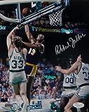 #2: Kareem Abdul-Jabbar Signed Lakers 8x10 Sky Hook Over Bird Photo- JSA Auth Silver