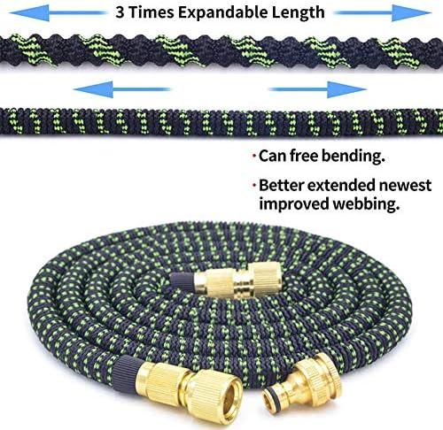 CIVIKY Expandable Garden Hose, Flexible Water Hose Pipe 8 Function Spray Head Brass Connectors +Hose Hook 50FT/100FT Black-100FT/30M