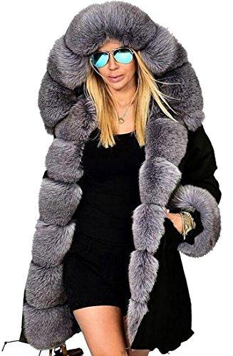 GAGA Womens Winter Coat Jacket Down Faux Fur Collar Warm Long Hooded Outwear 1 L - Abercrombie Fur Jacket