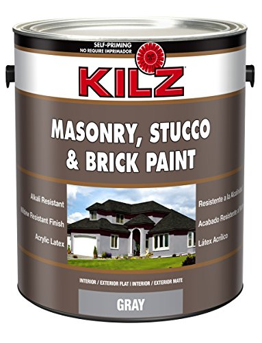 KILZ Interior/Exterior Self-Priming Masonry, Stucco and Brick Flat Paint, 1 gallon, Gray
