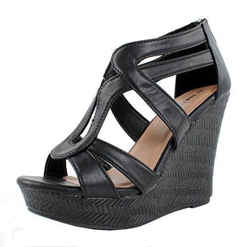 JJF Shoes Lindy-1 Black Faux Leather Gladiator Strappy Dress Platform High Wedge (Faux Leather Strappy Heel Wedge)