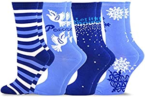 TeeHee Christmas and Holiday Fun Crew Socks for Women 4-Pack