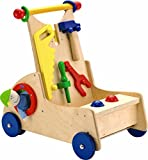 HABA Walk Along Tool Cart – Wooden Activity Push Toy for Ages 10 Months and Up