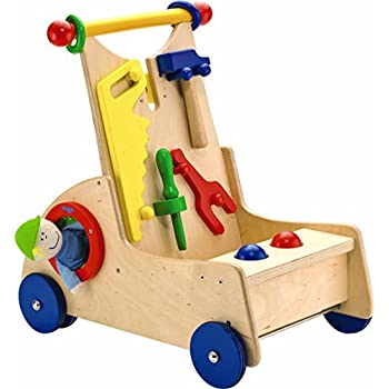 HABA Walk Along Tool Cart - Wooden Activity Push Toy for Ages 10 Months and Up