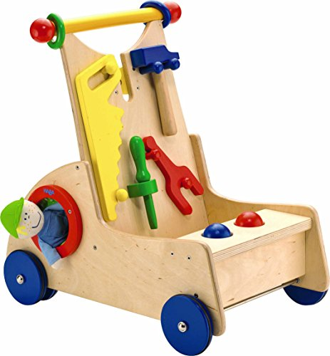 HABA Walk Along Tool Cart - Wooden Activity Push Toy for Ages 10 Months and (Haba Walker Wagon)