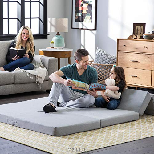 """Lucid 4"""" Folding Mattress & Sofa with Removable Indoor/Outdoor Fabric Cover, Full"""