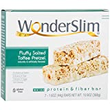 WonderSlim Low-Carb 15g Protein Diet Bar - Salted Toffee Pretzel - High Fiber Weight Loss Snack Bar - Gluten Free (7 Count