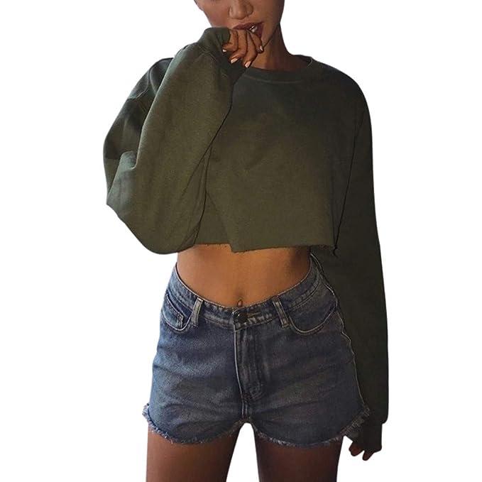 Longra Moda Casual Womens Manga Larga Camiseta Suelta Camiseta Blusa tee Top Tops Mujer Fiesta Encaje