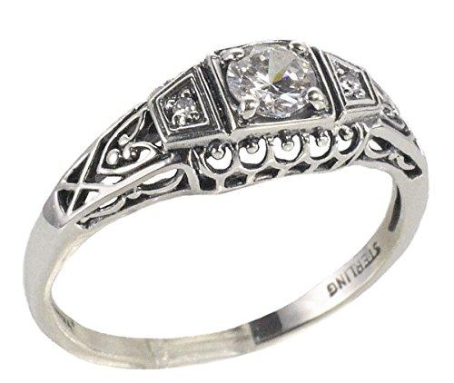 Jansjewells Art Deco Style Sterling Silver Filigree .25ct Cubic Zirconia Diamond Ring