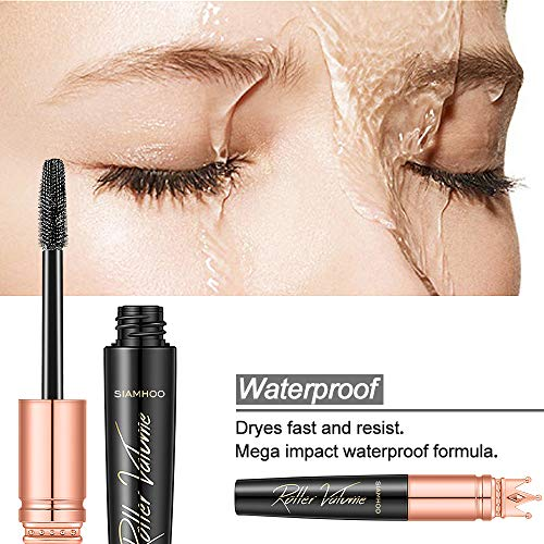 SIAMHOO 2PCS 4D Silk Fiber Lash Mascara Waterproof Extension Makeup Voluminous Eyelashes,Extra Long Lash Eyelashes,Thick, Long-Lasting,Smudge-Proof, Hypoallergenic Formula,No Flaking, No Clumping
