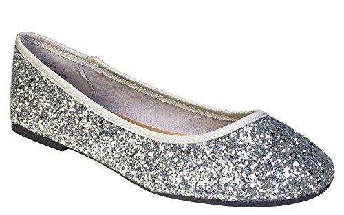 BAMBOO Women's Round Toe Ballet Flats, Silver Glitter, 8.0 B (M) (Silver Glitter Ballet Flats)