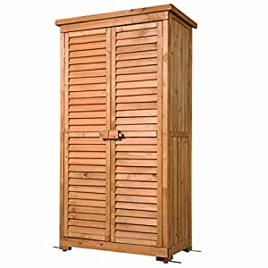 GOOD LIFE Outdoor Garden Wooden Storage Cabinet Furniture Waterproof Tool Shed Blinds Lockers Nature Wood Color LNG384