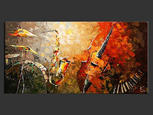 Ode-Rin 100% Hand Painted Cherish Art Oil Paintings Gift Band Musical Instruments 1 Panels Wood Inside Framed Hanging Wall Decoration