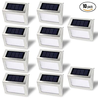 Solar Stair Lights, EpicGadget Waterproof Outdoor LED Step Lighting 3 LED Solar Powered Step Lights Stainless Steel Outdoor Lighting for Steps Paths Patio Stairs