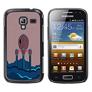 ROKK CASES / Samsung Galaxy Ace 2 I8160 Ace II X S7560M / MINIMALIST SPACE SHIP / Delgado Negro Plástico caso cubierta Shell Armor Funda Case Cover