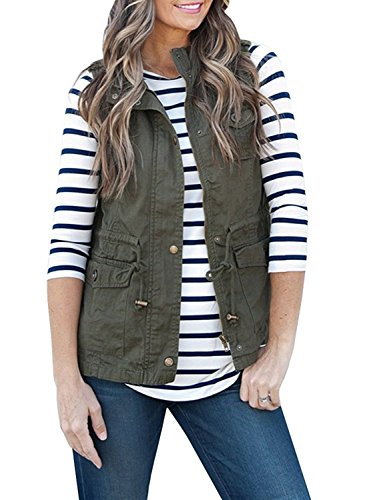 Women's Lightweight Sleeveless Military Stretchy Drawstring Jacket Vest With Zipper Army Green XL