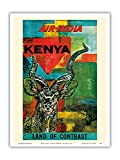 Kenya, Africa - Land of Contrast - Air India - Vintage Airline Travel Poster c.1967 - Master Art Print - 9in x 12in