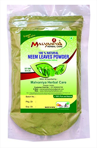 100% Natural Neem Leaves (AZADIRACHTA INDICA) Powder for PIMPLE FREE CLEAR SKIN NATURALLY by Malvaniya Herbal Care (1/2 lb/8 ounces/227 (Natural Clear Mixing Powder)