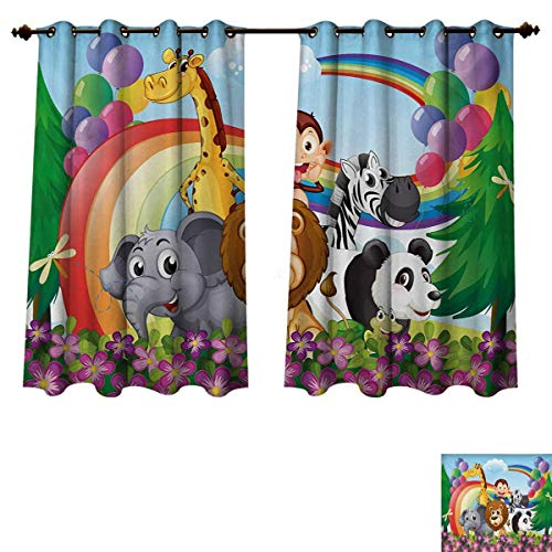 RuppertTextile Nursery Blackout Thermal Backed Curtains for Living Room Group of Animals at The Hilltop with a Rainbow and Balloons Fresh Garden Happy Window Curtain Fabric Multicolor W55 x L45 inch from RuppertTextile