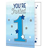 """Party Central Club Pack of 48 Metallic Gray and Blue """"One Little Star"""" Invitations 7''"""