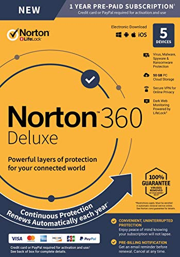 NEW Norton 360 Deluxe - Antivirus software for 5 Devices with Auto Renewal - Includes VPN, PC Cloud Backup & Dark Web Monitoring powered by LifeLock [PC/Mac/Mobile Key Card] (Best Antivirus App For Mac)