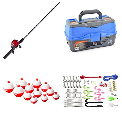 Ready Trout Fish 2 - Bundle Includes 3 Items - Zebco Fishing 404 Spincast Combo and Ready 2 Fish Tackle Box - 2 Tray and Eagle Claw Snap-On Floats Assortment, 12 Piece (Red and White Bobbers)