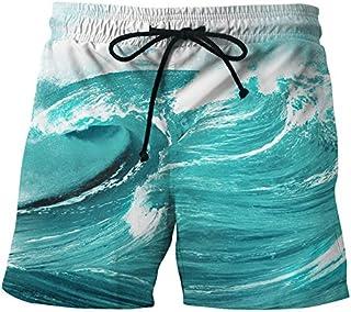 Sinedoly Plage d'impression 3D Creative Pantalon Pantalon Pantalon de Plage, Les Grands Chantiers Respirant Doublure en Filet Double Couche de Confort.